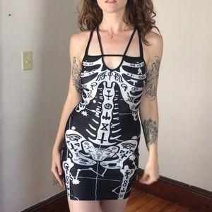 Goth Skeleton Dress with V Neck
